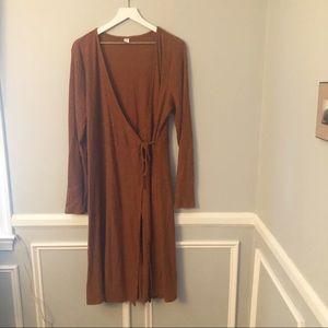 Old Navy Rust Ribbed Knit Wrap Midi Dress XL